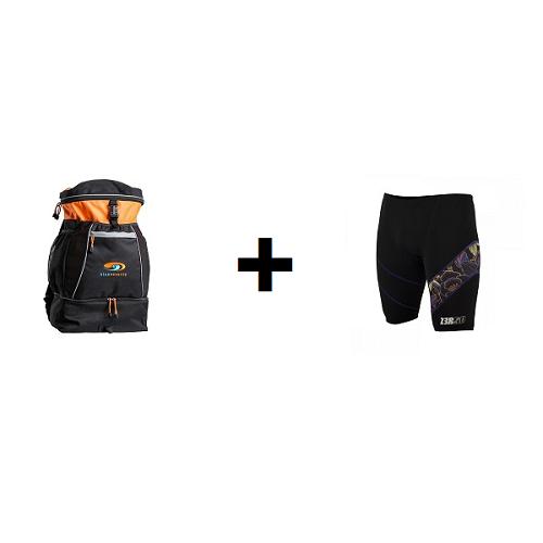 BLUESEVENTY Plecak triathlonowy TRANSITION BAG Pomarańczowy + ZEROD Spodenki pływackie JAMMERS KONA
