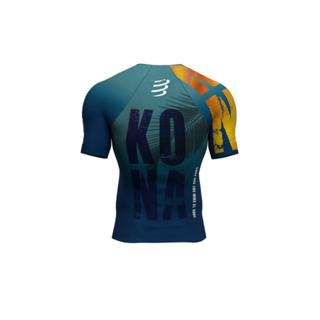 COMPRESSPORT Triathlonowa koszulka kompresyjna TRIATHLON POSTURAL AERO SS TOP - KONA 2019 niebieska
