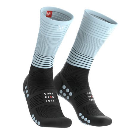 Skarpety kompresyjne do biegania COMPRESSPORT MID COMPRESSION SOCKS czarno-niebieski